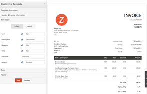Screenshot #11 of Zoho Invoice (Zoho Invoice - Customize Template)