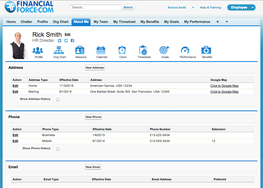 Screenshot of FinancialForce HCM (Human Capital Management) (Core HR - About me page)