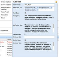 Screenshot #3 of Novatus Contract Management (Create Managed Events)