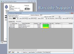 Screenshot of Blue Link ERP (Warehouse Shipping with Barcode Input)