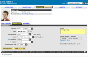 Screenshot of Timesheets.com (Expense Entry Page)