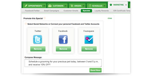 Screenshot of Booker (Social Promotion: Harness the power of social media to connect with customers and their friends. Link your Facebook, Twitter, Foursquare, and other social media accounts to Booker, and publish specials with a click of a button.)