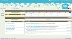 Screenshot of Huddle (Dashboard Overview - See your approvals, calendar, tasks & what is happening in your workspaces. )